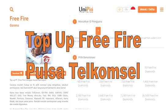 Top Up Free Fire Pulsa Telkomsel
